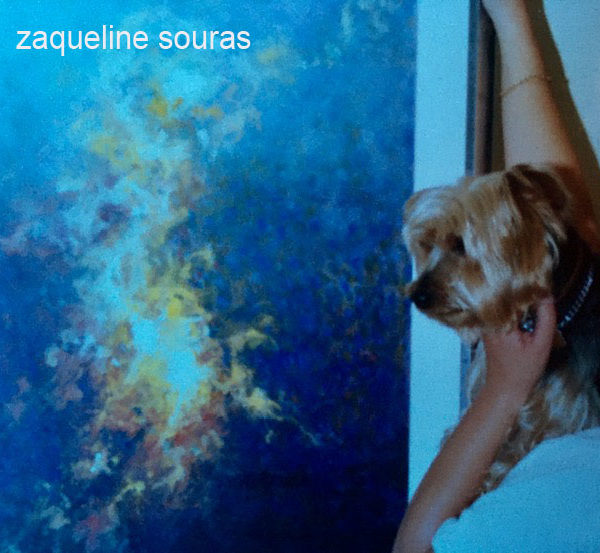 Turbo looking at Orion oil painting Zaqueline Souras